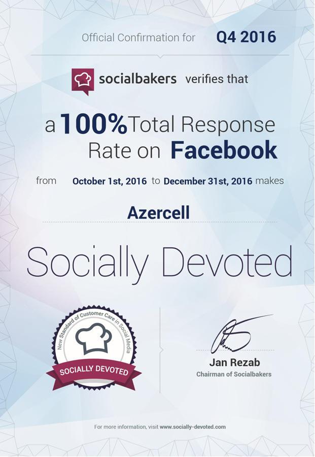 """""""Socialbakers"""" növbəti dəfə """"Azercell""""i sertifikatla təltif edib"""