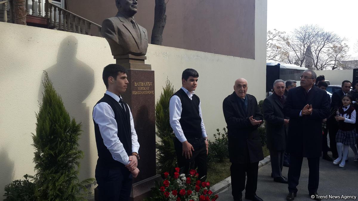 Bakıda məşhur neftçi Nikolay Baybakovun büstü açılıb (FOTO)