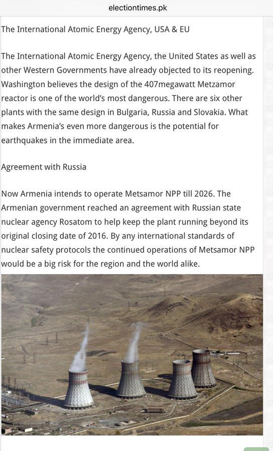 Pakistan mətbuatı: Metsamor AES qlobal nəticələrə malik regional təhlükəsizlik təhdididir (FOTO)