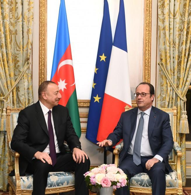 Azərbaycan və Fransa prezidentlərinin görüşü olub (FOTO)
