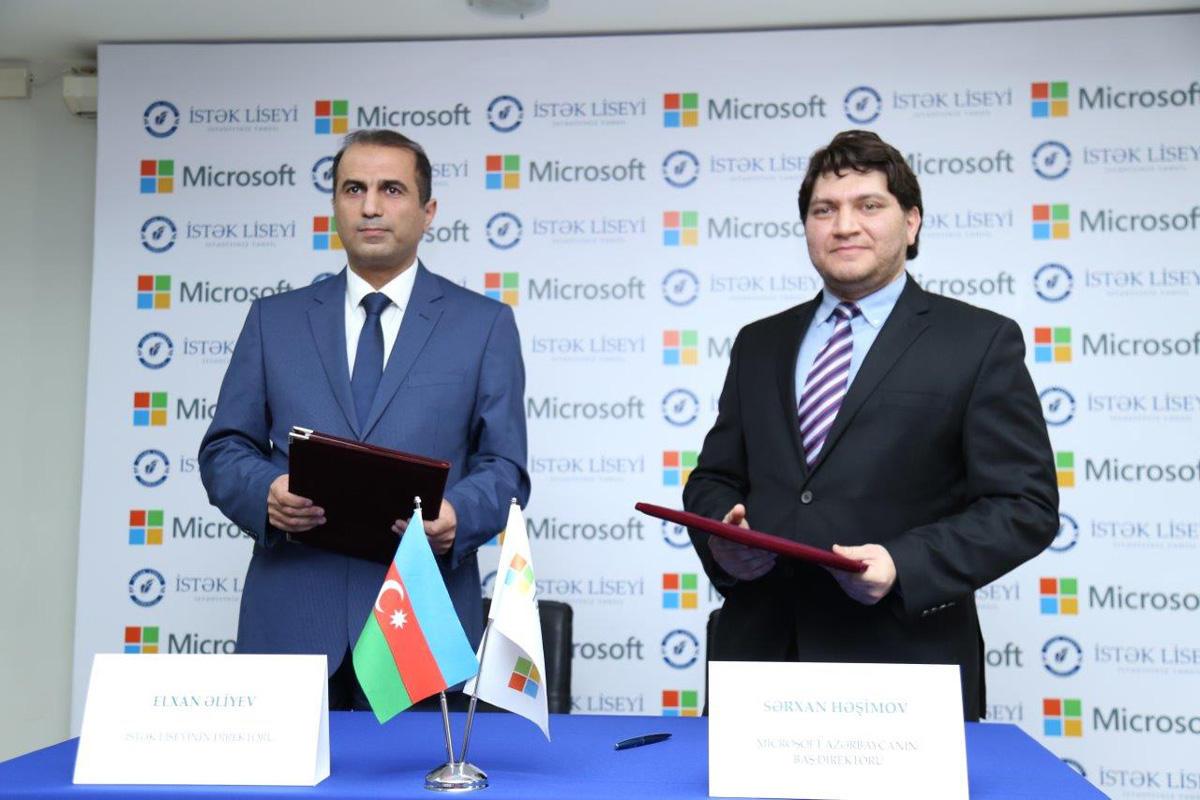 """""""Microsoft"""" və """"İstək"""" Liseyi arasında anlaşma memorandumu imzalanıb (FOTO)"""
