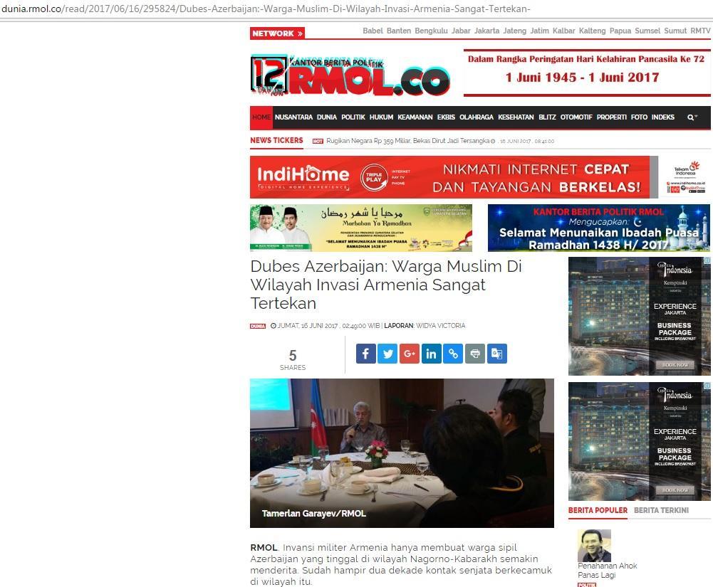 İndoneziyada 15 iyun – Milli Qurtuluş Günü ilə bağlı tədbir keçirilib (FOTO)