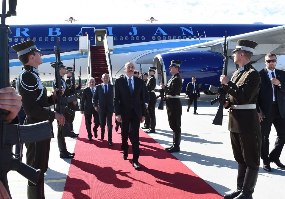 President Ilham Aliyev arrived in Latvia for official visit