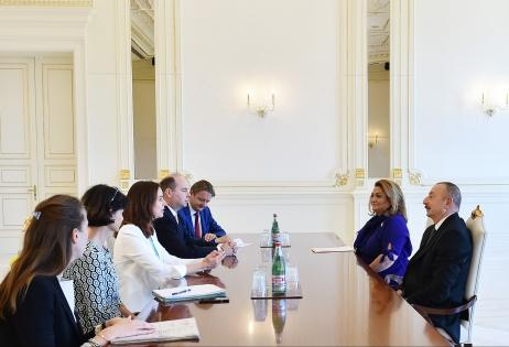 Ilham Aliyev receives delegation led by Austrian minister  (PHOTO)