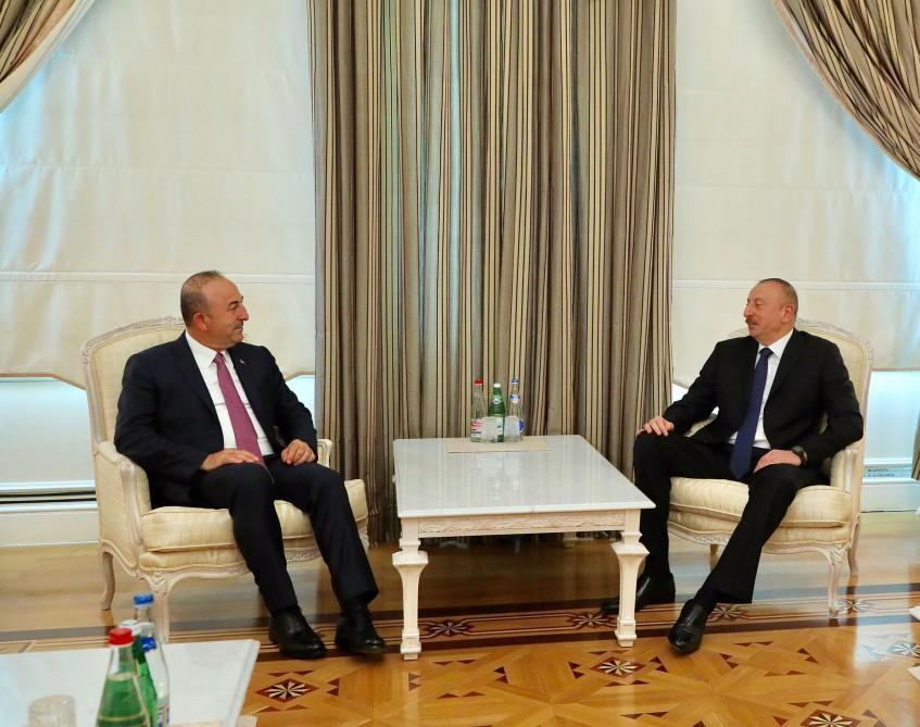 Ilham Aliyev receives Turkish FM (PHOTO)