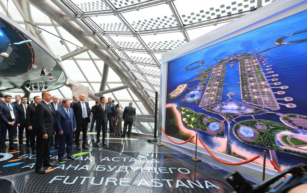 President aliyev views azerbaijani kazakh booths at expo for International azerbaijan decor expo