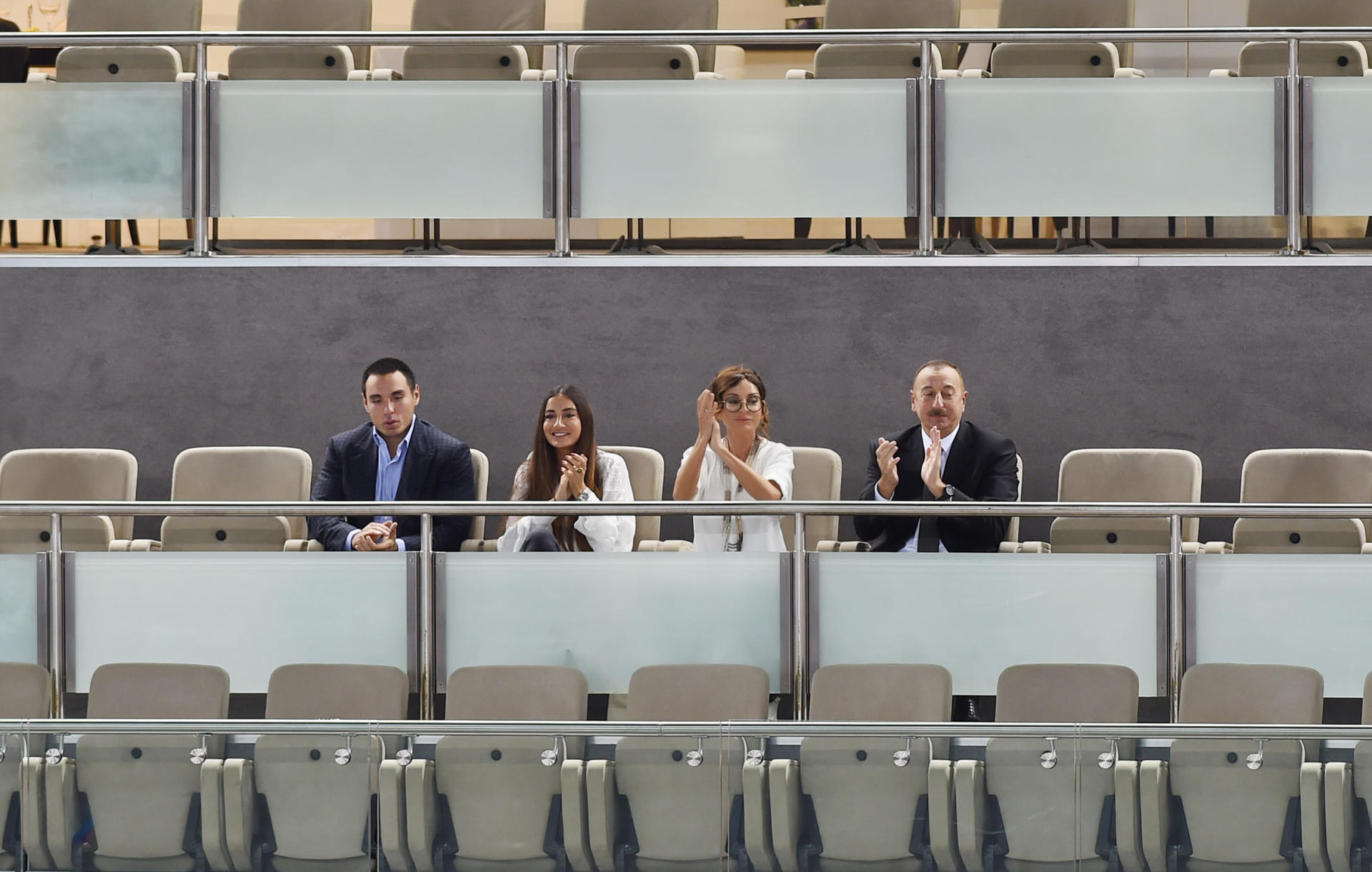 Ilham Aliyev, his spouse watched Azerbaijan-Netherlands volleyball match (PHOTO)