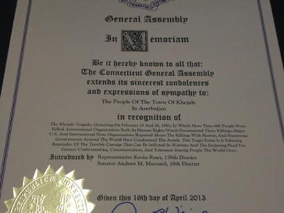 Законодательное собрание штата Коннектикут приняло документ по признанию Ходжалинского геноцида (ФОТО)